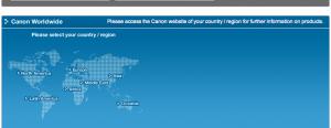 Screenshot of world map, taken from Canon.com